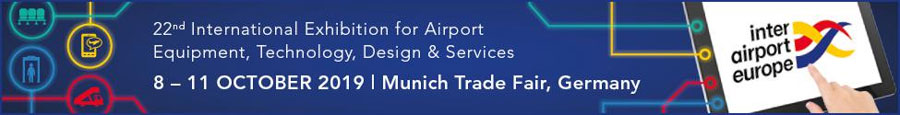 22nd International Exhibition for Airport Equipment, Technology, Design & Services, 8 - 11 October 2019, Munich Trade Fair Centre, Germany